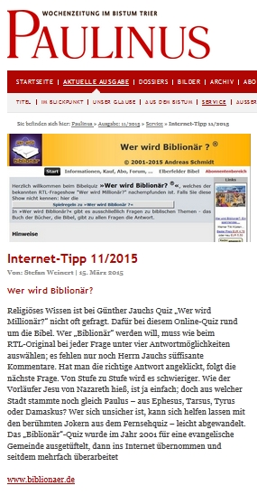 Screenshot Internet www.paulinus.de 15.03.2015